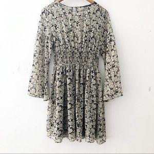 [Zara Basics] Floral Bell Sleeve Medium Dress